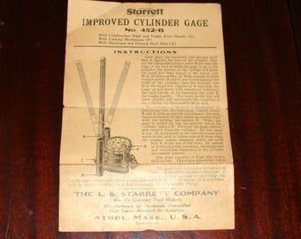 Vintage Original L. S. Starrett Cylinder Gage Instructions for No. 452-B, Perhaps 1930's?