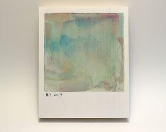 Polaroid #13 - tiny art - tiny painting - fine art series - landscape - comic book art - calming art - art for bedroom - small art gift