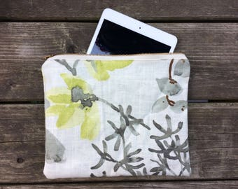 Large Zipper Pouch - Floral Pattern - iPad Mini Pouch Flat Sleeve - Travel Pouch - Clutch Purse - Modern - Handbag Organizer - Makeup Bag