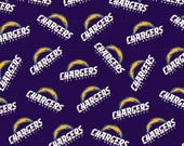 Los Angeles Chargers Football, NFL Fabric, LA Chargers, Cotton Broadcloth Fabric, by the Half Yard