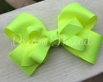Neon Yellow, Neon Pink Double Stacked Loop Boutique Double Stacked Hairbows, Baby Boutique Bows, HairBows