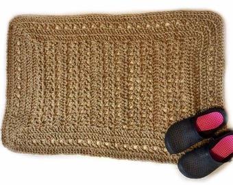 Crochet jute rug, natural fiber jute rug, jute rope rug, entrance rug, indoor/outdoor rug--READY TO SHIP