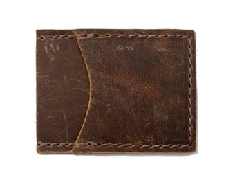 Leather Slim Wallet, Front Pocket Wallet, Minimal Wallet, Foil Monogram