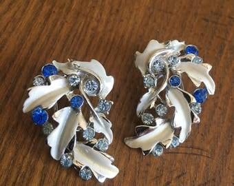 BSK Blue Rhinestone and Enamel Clip Earrings