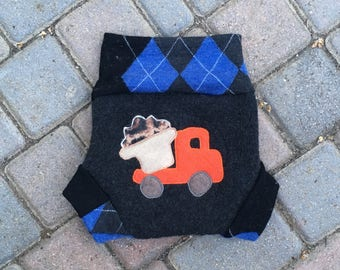 Cloth Diaper Cover, Wool Soaker, Shorties, Overnight Diaper Cover - Size Large - Dumptruck Applique