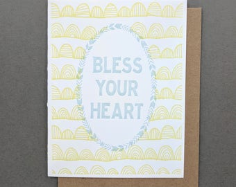 Bless Your Heart Southern Funny Sarcastic Get Well Letterpress Card, Condolence Card, Funny Birthday Card, Thank You Cards