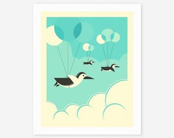FLOCK OF PENGUINS (Giclée Fine Art Print, Photo Print or Poster Print)