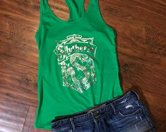 Slytherin Crest Green Racerback | Hogwarts Houses | Harry Potter Shirt | Hogwarts Crest | Slytherin Tank | Wizarding World
