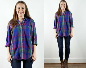 90s Plaid Shirt / Blue Plaid Shirt / Women's Plaid Button Down / Vintage Plaid Shirt / Long Sleeve Shirt / Purple Plaid Shirt / Plaid Top