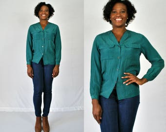 1990s Teal Silk Blouse