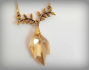 Gold Crystal Necklace Swarovski Crystal Necklace Golden Pendant Necklace Swarovski Leaf Necklace Minimalist Necklace Elegant Necklace