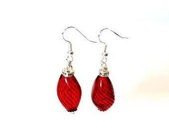 red black swirls hand blown glass silver earrings hypoallergenic earrings nickel free earrings dangle drop jewelry gifts for her