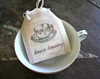 Wedding favor bags, muslin, 2x4. Set of 60. Love is Brewing with vintage teacup design. Tea bag wedding party favors.