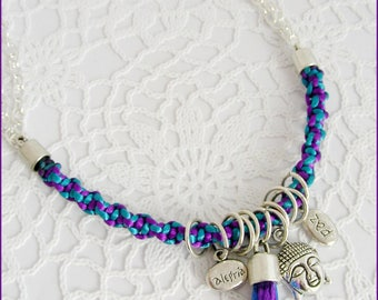 Necklace Gri-grey-Turquoise/purple - weaving, chain, tassel and Buddha charm