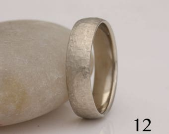 """Men's size 12 white gold wedding band, """"rough and refined"""" texture, also custom sizes, #754."""