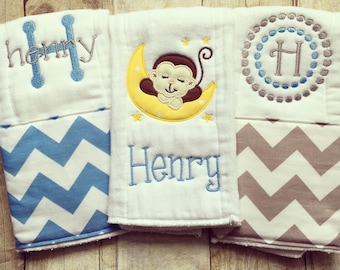Monkey baby gift etsy personalized baby burp cloths monkey baby gift negle Image collections