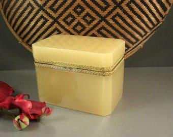 French Creme Opaline Glass Jewelry Casket Box / Dore Ormolu Mounts