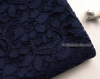 Luxury Lace Fabric Dark Blue Corded Flower Lace Fabric For Dress Lace Fabric- 1/2 Yard
