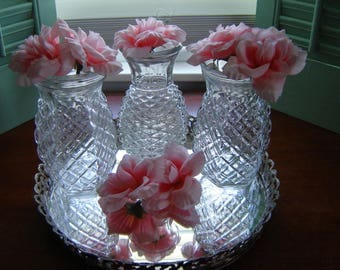 Vintage vases 3 pc set clear glass vases retro chic FTD and Hoosier centerpiece party decor wedding table