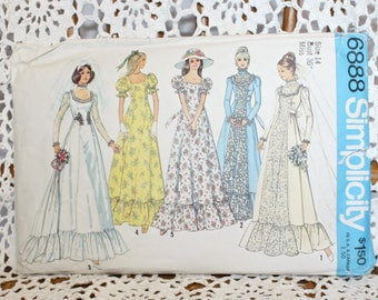1970s Victorian Gunne Sax Style Wedding Gown . Vintage 70s Bridal and Bridesmaids Dress Simplicity 6888 Sewing Pattern . Bust 36