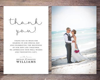 Printable or Printed Wedding Photo Thank You Cards, Classic Wedding Thank You, Photo thank you cards, personalized thank you –Brynley