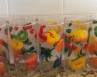 Vintage Set of Five Retro Glasses Tumblers Federal Fruit