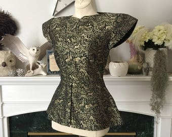 40s Gold Black Brocade Ethnic India Print Evening Top