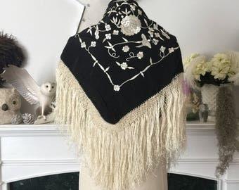 40s era Black Embroidered Gypsy Shawl