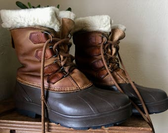 Vintage Leather Sorel Boots Made in Canada