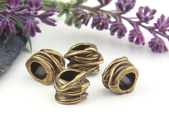 Bronze Large Hole Slider Beads, 4 pieces //  ABB-036