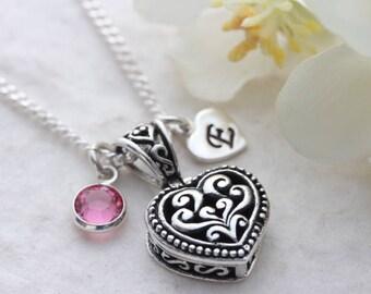 Adorned heart locket necklace. Sterling silver locket pendant. Personalized Locket Necklace, Irish Locket Jewelry, Mony-Art. R-56