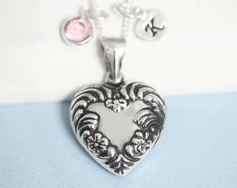 Lockets, Solid 925 Sterling Heart Locket Necklace, Personalized birthstone and initial, Photo locket, Locket jewelry,