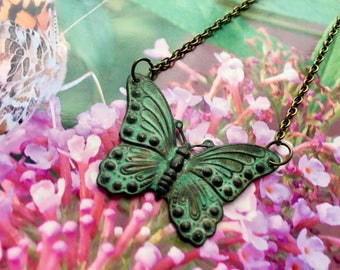 Butterfly necklace, brass jewelry, patina butterfly pendant necklace, nature lover gift, butterfly jewelry