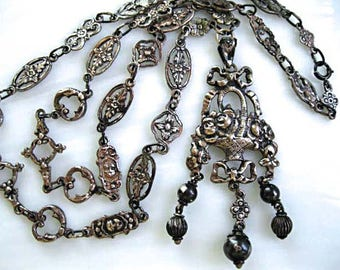 Victorian Flower Basket Sterling Pendant with Ribbon Bow, Silver Ball Drops Accents, Elaborate Floral Mixed Links Chain, Extra Long Necklace
