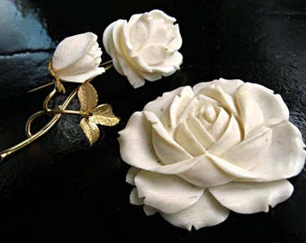 White Rose Vintage Brooch, Carved Organic Bone, Double Blossom Flower on Stem, 14k goldfill, Silver, Signed WELLS, Easter Gift for her