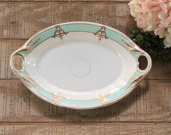Antique Mint Green and Gold Filigree Handled Platter Fine Bone China Ca. Mid 1800s