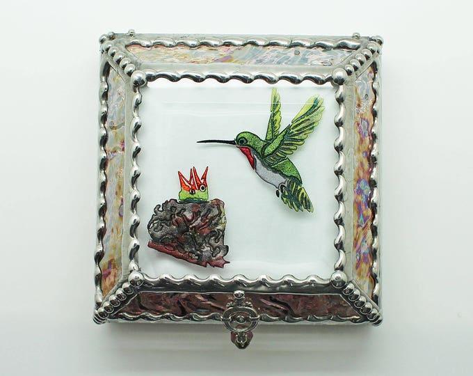 Hummingbird, Nest, Jewelry Box, Stained Glass, Keepsake Box, Stained Glass Box