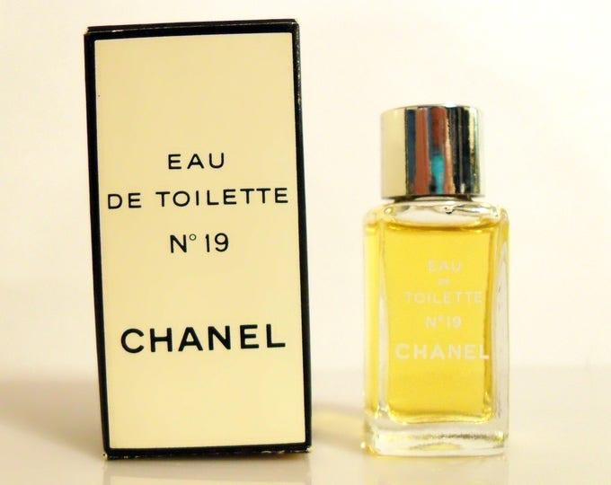 Vintage 1970s Chanel No. 19 by Chanel 0.13 oz Eau de Toilette Splash Mini Perfume Bottle and Box