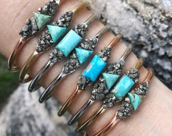 Turquoise and Pyrite Cuff Bracelets, Turquoise bracelets, turquoise jewelry, pyrite jewelry, pyrite bracelets, December birthstones