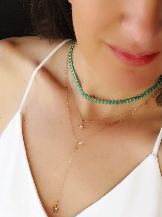 Choker necklaces, boho jewelry, green enamel leaf necklace, herringbone necklaces