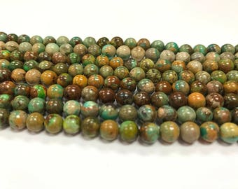 6mm Genuine Turquoise Round Beads