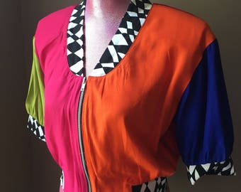 Colorful 80s Crop Top Jacket by Contempo Casuals