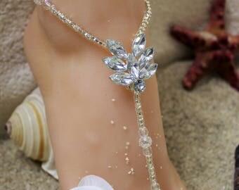 Barefoot Sandals Rhinestone Beach Wedding Foot jewelry Crystal Anklet Beach Jewelry Bridesmaids Gift