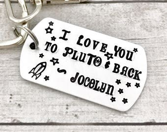 I Love You to Pluto and Back - Dad Christmas Gift - Gift from Kids - Dad Keychain Personalized - Dog Tag Keychain