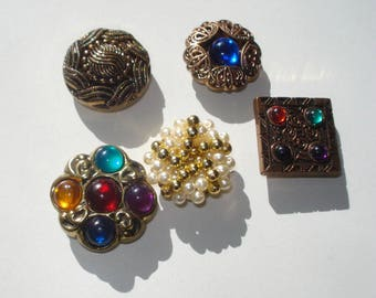 Vintage Button Cover Set  - 5 Assorted Mixed Lot - Fashion Accessories 1980s