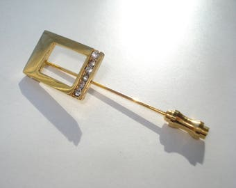 Vintage Gold Rhinestone Square Hat Pin - Gold Tone Stick Pin Jewelry - Retro Fashion Jewellery