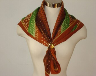 Vintage Brown and Green Scarf - Patterned Square Scarves - Womens Accessories 1970s Italy