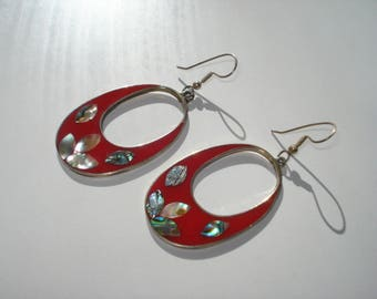 Vintage Alpaca Earrings Red Enamel and Abalone Shell - Large Pierced Dangle - Alpaca Silver 1980s