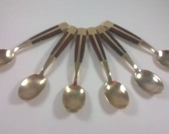 Vintage Brass and Teak Demitasse Spoons - Gold Cutlery  - Set of 6 - Retro Kitchen 1960s