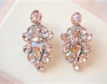 Blush Rhinestone Earrings,Blush Cluster Earrings,Blush Bridal Earrings,Blush Wedding Earrings,Blush Crystal Earrings,Blush Jewelry